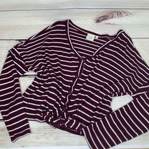 GOOD LUCK GEM Maroon and White Striped Knotted Top